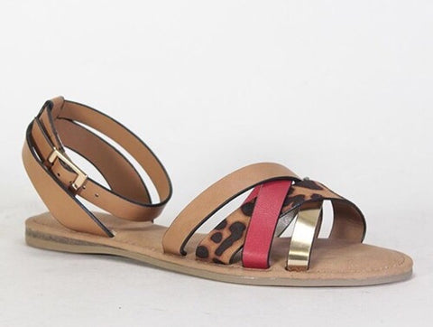 Bliss Leopard Print Strap Sandals