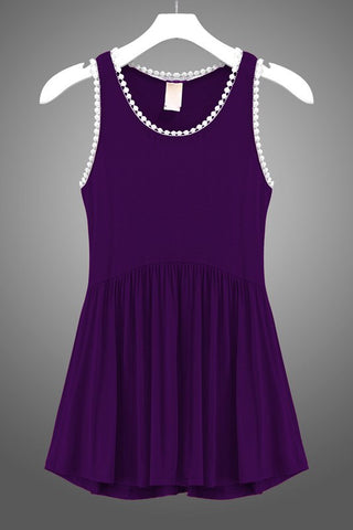 Purple Drop Waist Tank