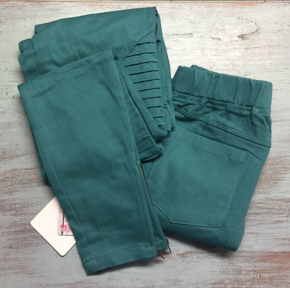 Light Emerald Pintuck Moto Jeggings
