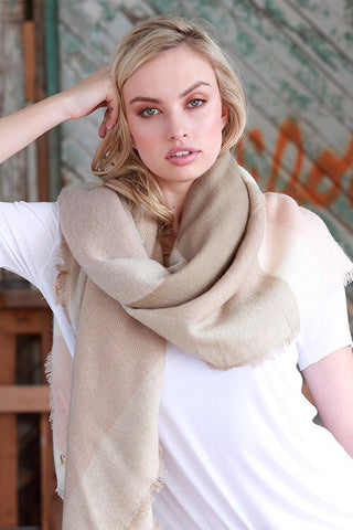 Taupe/Light Peach Blanket Scarf