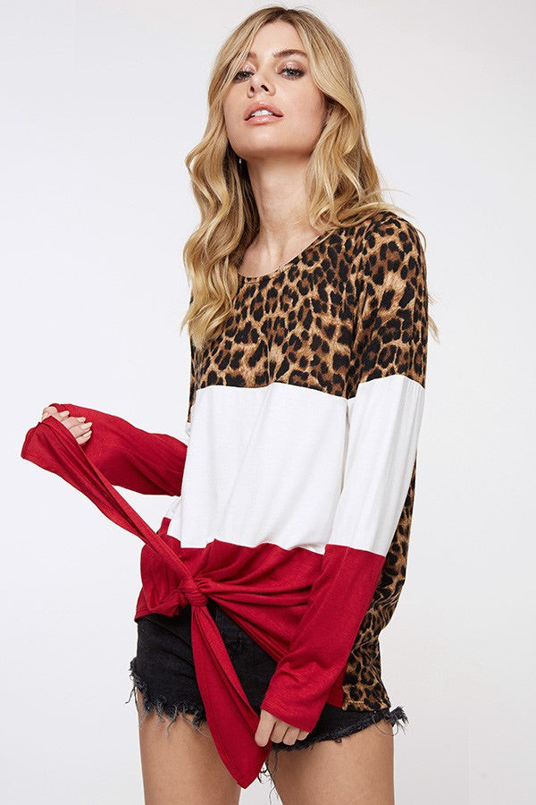 Love in Leopard Red Tie Detail Top