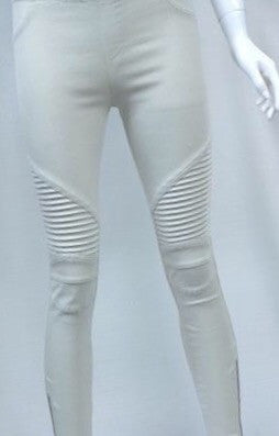 Light Tan Moto Jeggings with Zipper Detail