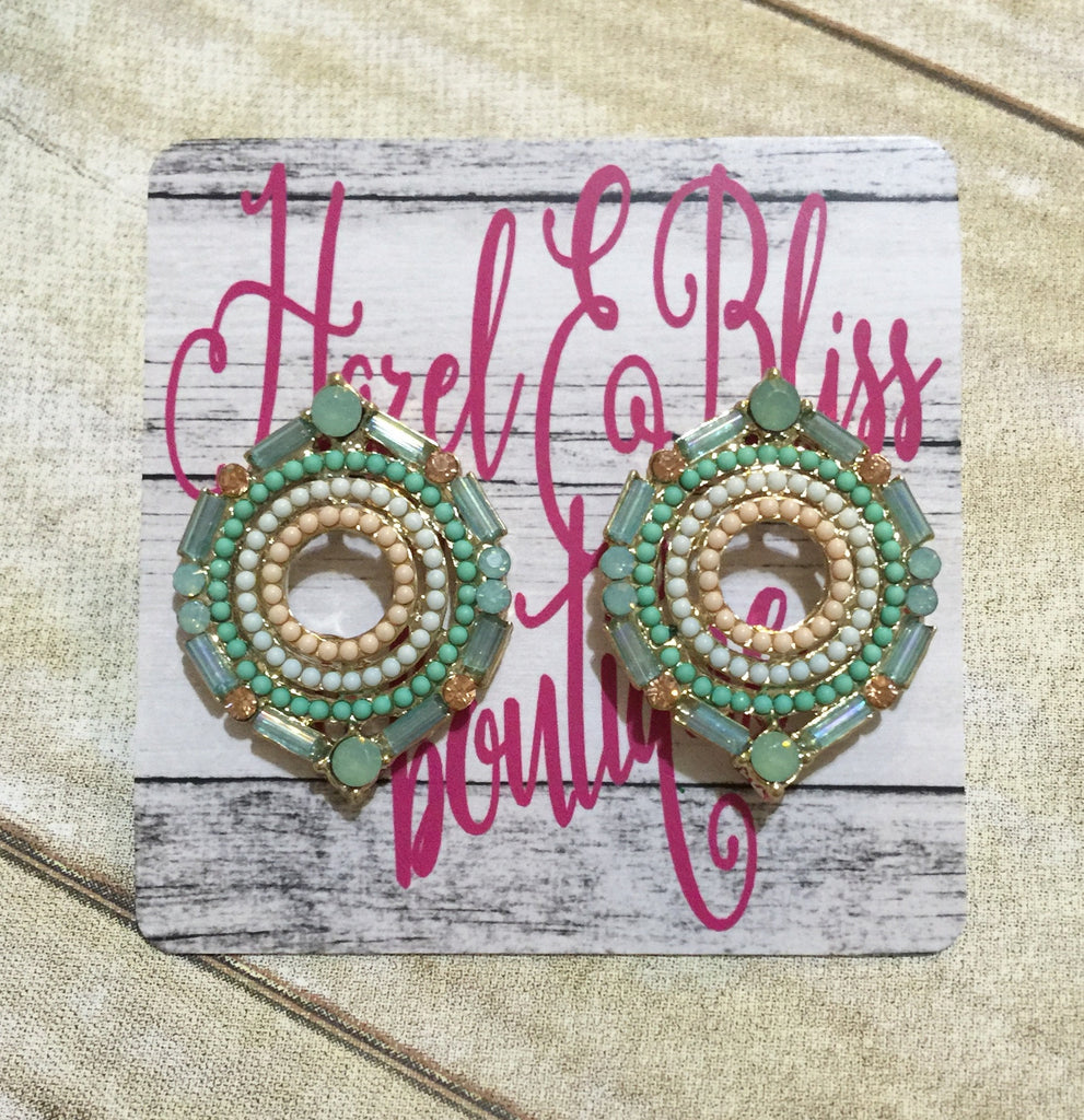 Mint Multi Rhinestone Earrings