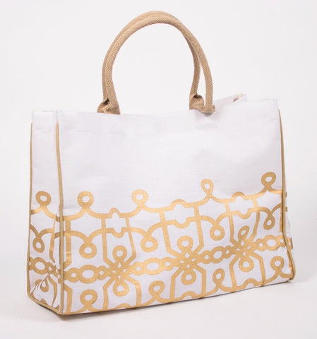 Florence White/Gold Glamour Bag