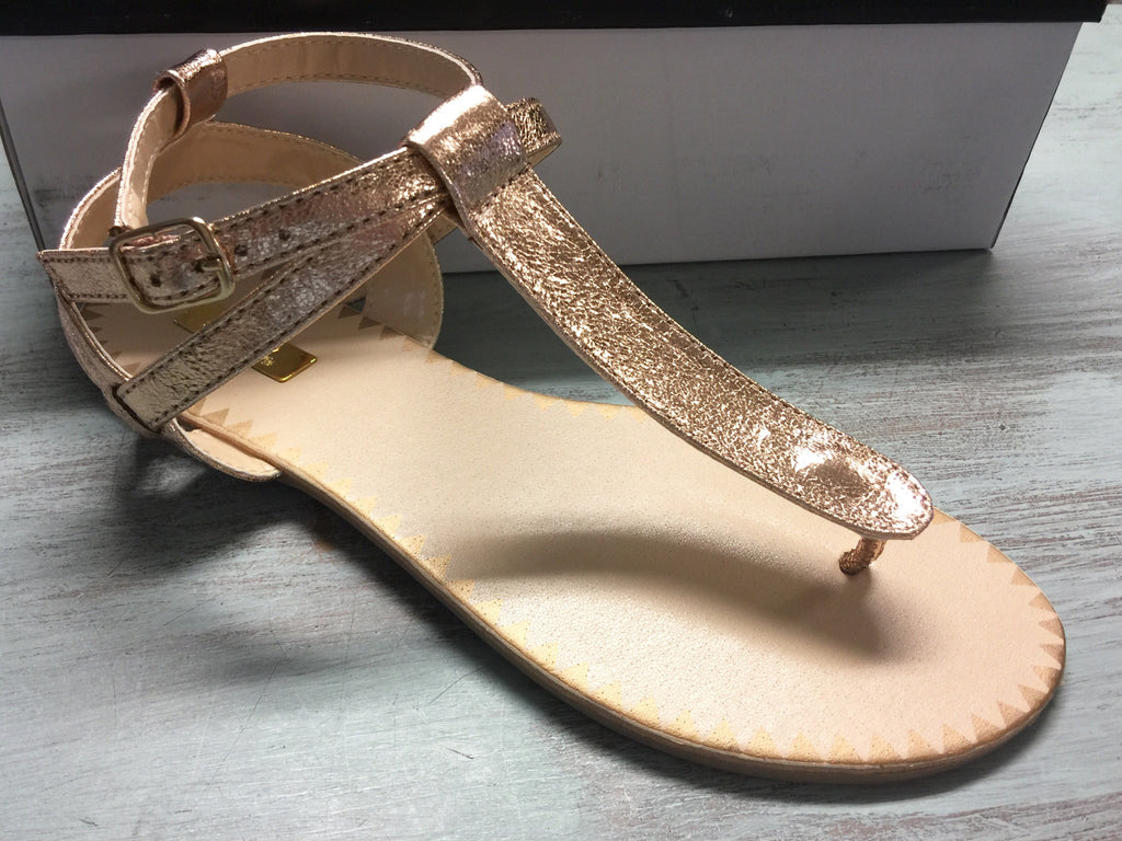 Cheeky Rose Gold Crinkle Sandals