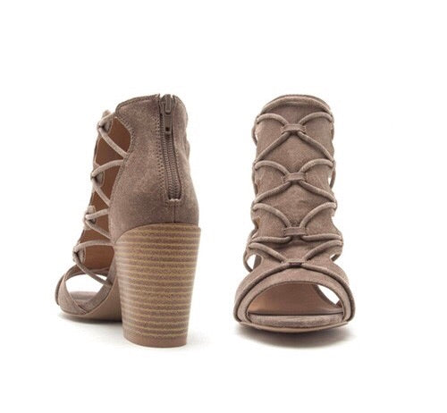 Taupe Wrap Detail Open Bootie