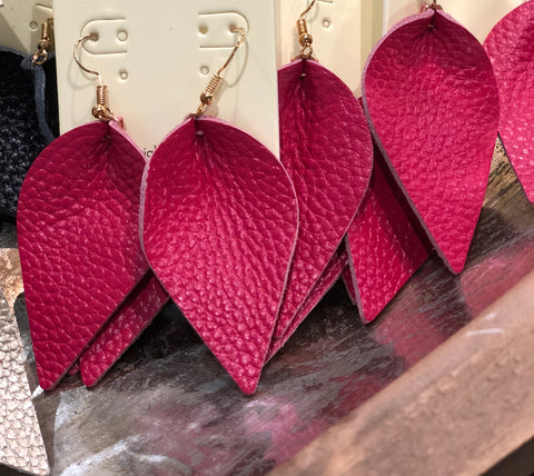 Dark Pink Mini Leather Drop Earrings