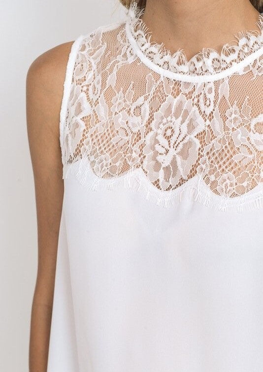 Ivory Yoke Lace Neck Tank with Scallop Hem