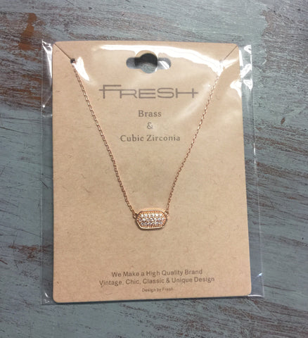 Dainty Rose Gold Rhinestone Necklace