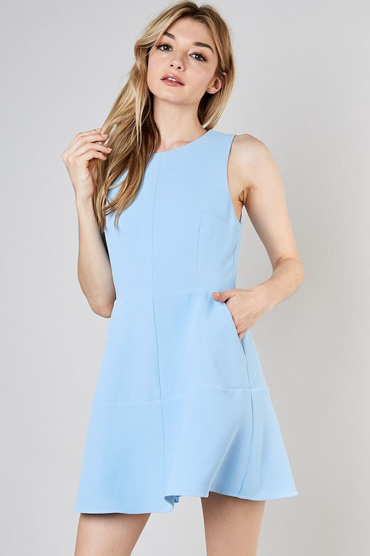 Baby Blue Simple Flare Dress