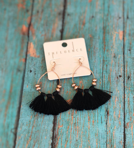 Black Triple Tassel Drop Earrings