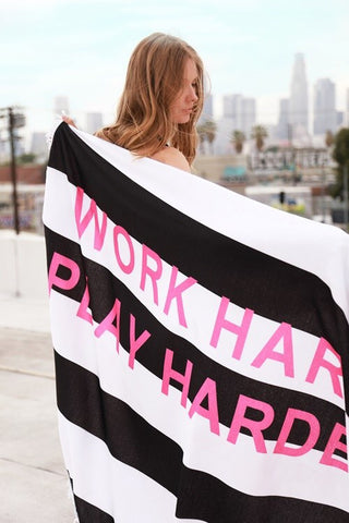 """Work Hard, Play Harder"" Round Beach Towel"