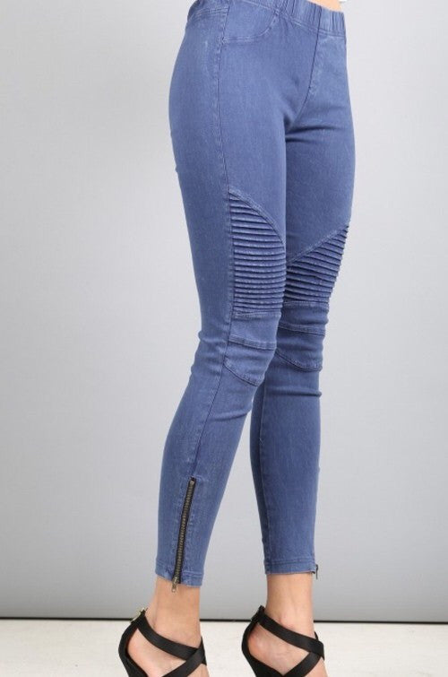 Indigo Blue Moto Jeggings with Zipper Detail