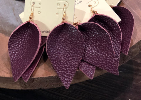 Burgundy Leather Drop Earrings
