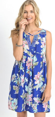 Royal Floral Crochet Strap Dress