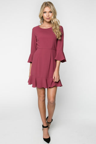 Berry Red Ruffle Detail Dress