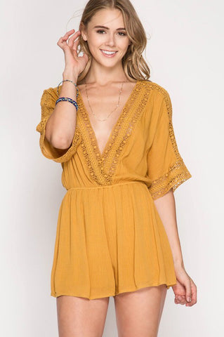 Golden Lace V-Neck Romper
