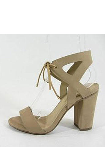 Ankle Tie Strap Natural Heel