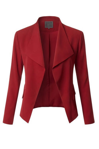 Deep Red Open Front Blazer