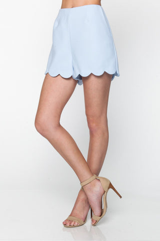 Ice Blue Scallop Hem Shorts