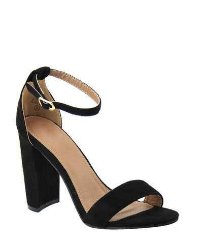 Black Meadow Ankle Strap Heel
