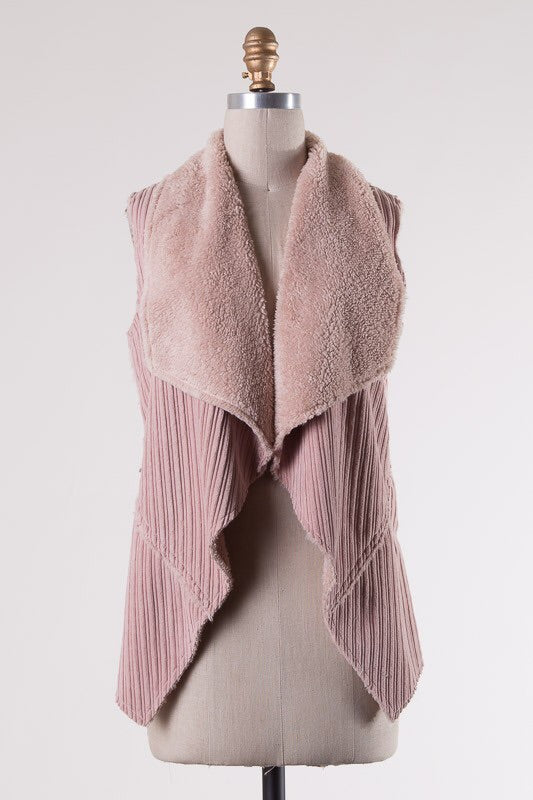 Dusty Pink Fuzzy Front Vest