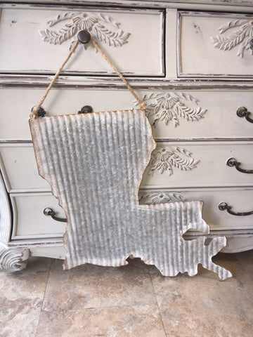 "Galvanized ""Louisiana"" Door Hanger"