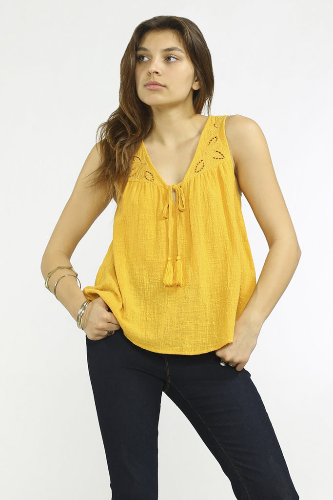 Yellow Gold Tassel Tie Tank