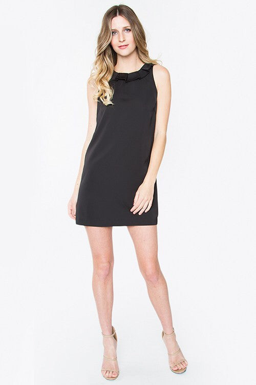 Black V-Neck Back Ruffle Collar Dress