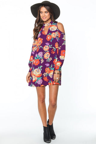 Bright Violet Floral Cold Shoulder Dress