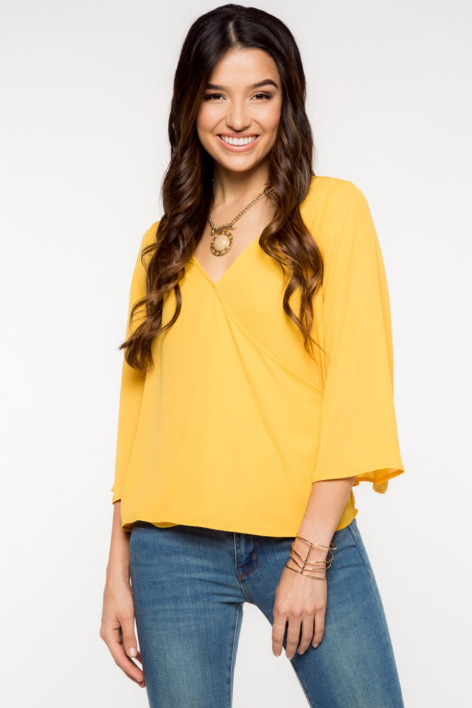Gold Bell Sleeve Top