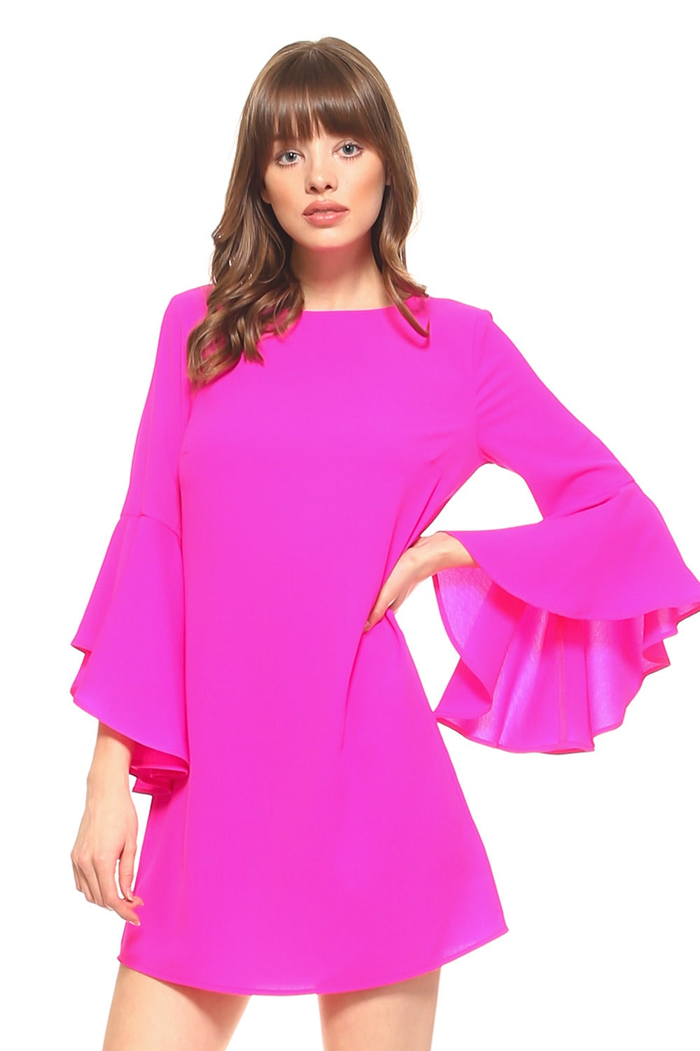 Bright Hot Pink Ruffle Sleeve Dress