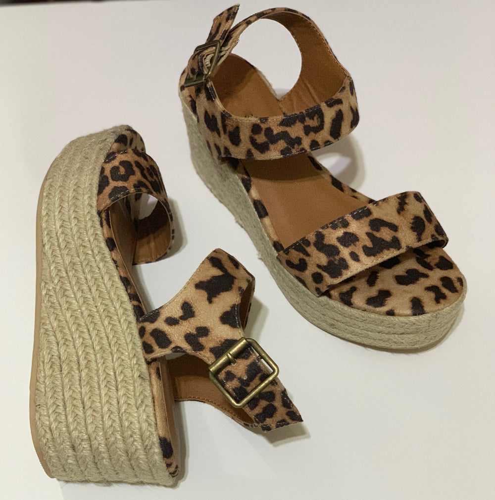 Summer Leopard Mid Heel Wedge