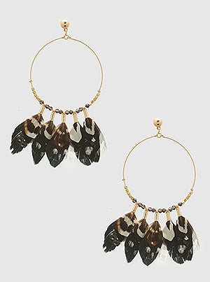 Multi Feather Dangle Earrings