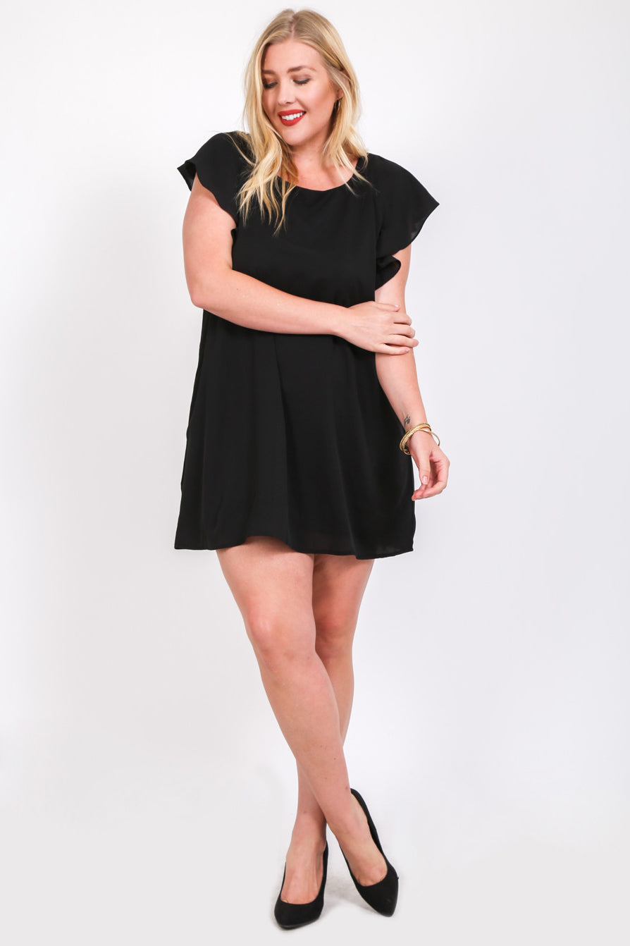 Back to Back Ruffles Plus Size Black Dress