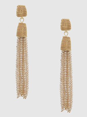 Champagne Beaded Tassel Earrings