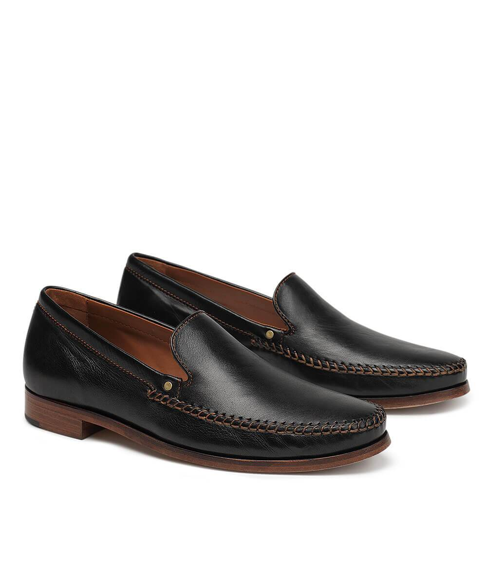 Trask Seth Sheepskin Loafer - Black