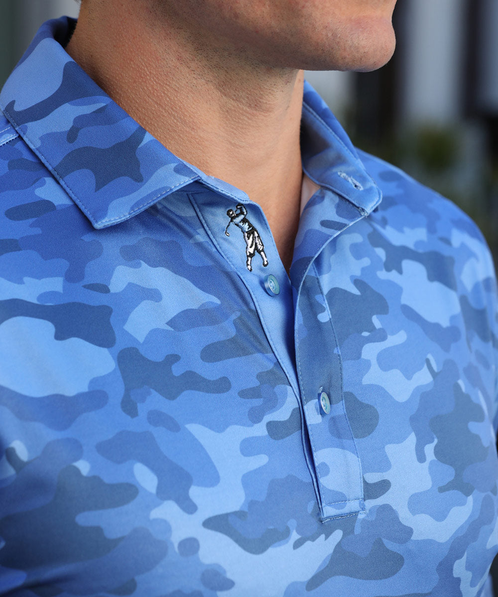 Performance Camo Print Short Sleeve Polo Shirt