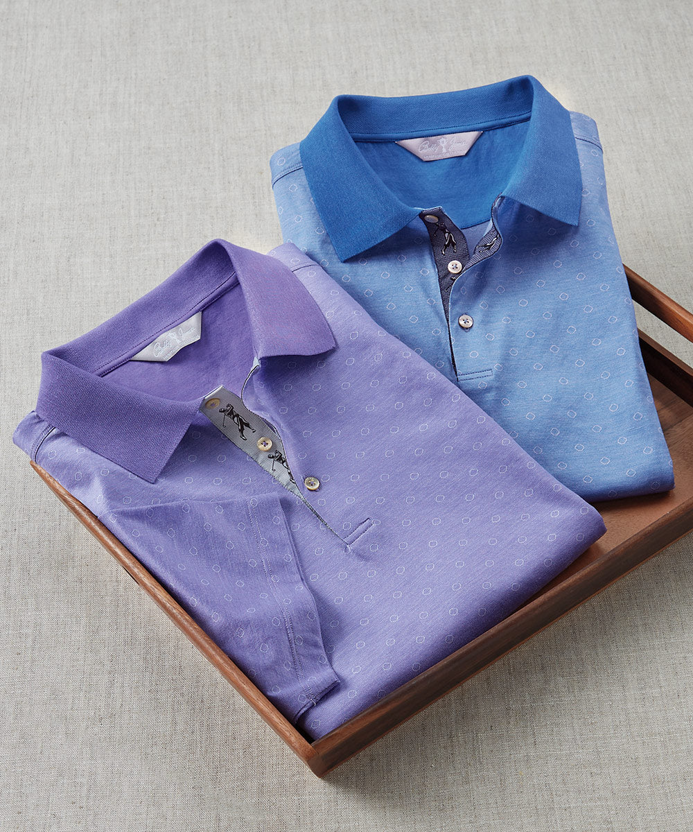 Heritage Luxe 100% Italian Cotton Cloud Jacquard Polo Shirt