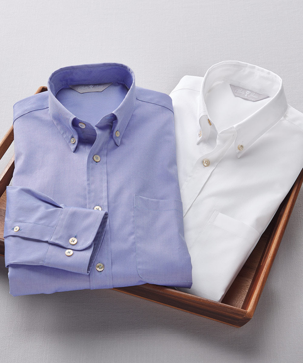 Heritage Italian-Made 100% Royal Oxford Cotton Solid Sport Shirt