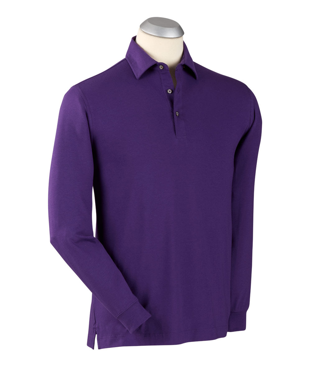 Liquid Stretch Cotton Long Sleeve Solid Polo Shirt