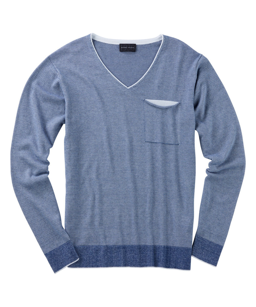 100% Pima Cotton V-Neck Pocket Pullover Sweater