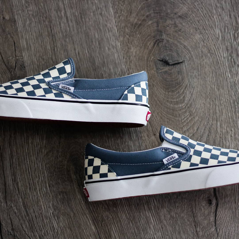Vans checkerboard slip on blue mirage