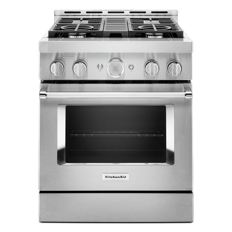 KitchenAid® 30'' Smart Commercial-Style Gas Range with 4 Burners KFGC500JBK