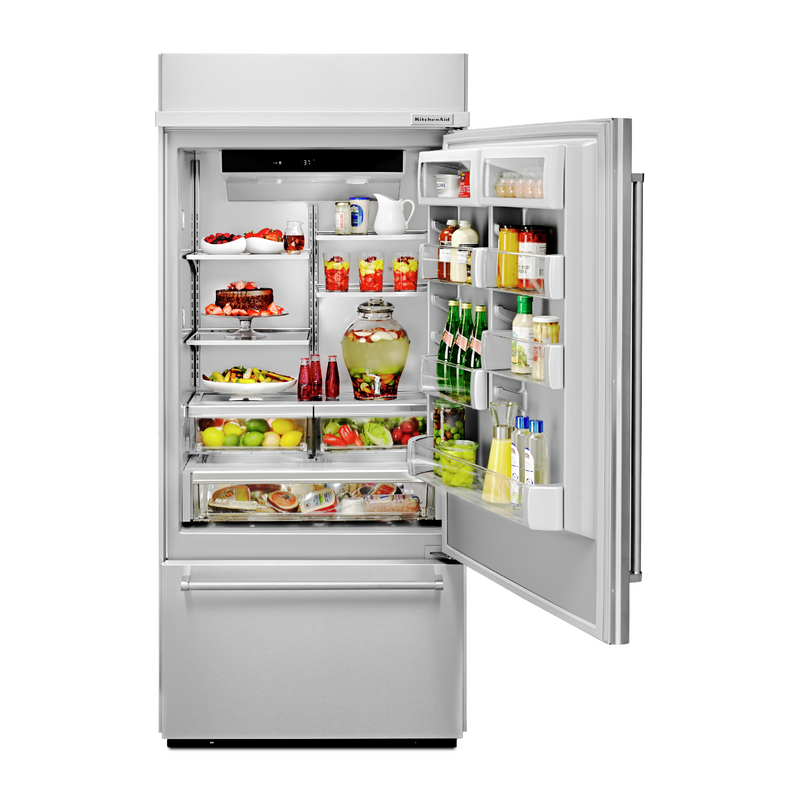 "20.9 Cu. Ft. 36"" Width Built-In Stainless Bottom Mount Refrigerator with Platinum Interior Design KBBR306ESS"