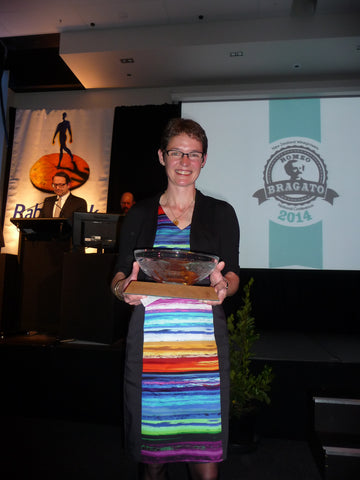 Ursula Schwarzenbach receiving Trophy from Bragato Wine Awards 2014
