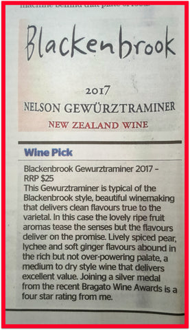 Neil Hodgson reviews Blackenbrook Nelson Gewurztraminer in the Nelson Mail
