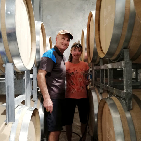 Daniel and Isabelle Schwarzenbach at the Blackenbrook Family winery in Nelson, New Zealand