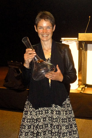 Ursula Schwarzenbach bringing Bragato Trophy for best Gewurztraminer home to Nelson