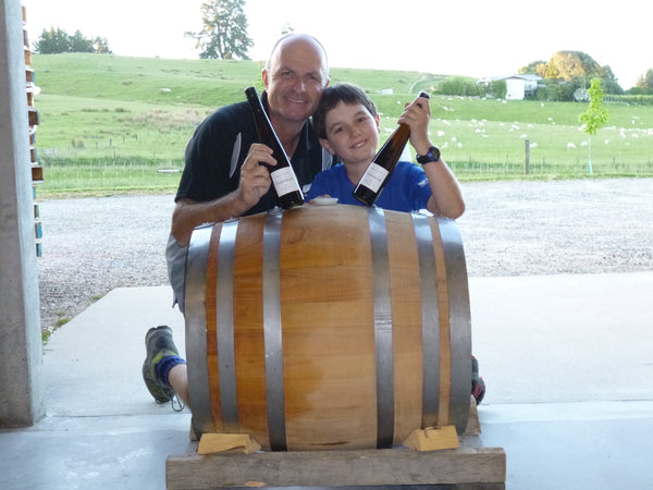 Thomas & Daniel Schwarzenbach with the acacia barrel for the our outstanding Nelson Desert Riesling